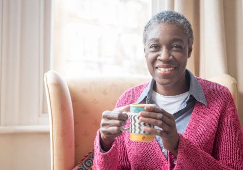 Woman drinking a cup of tea for Tea With the SVP